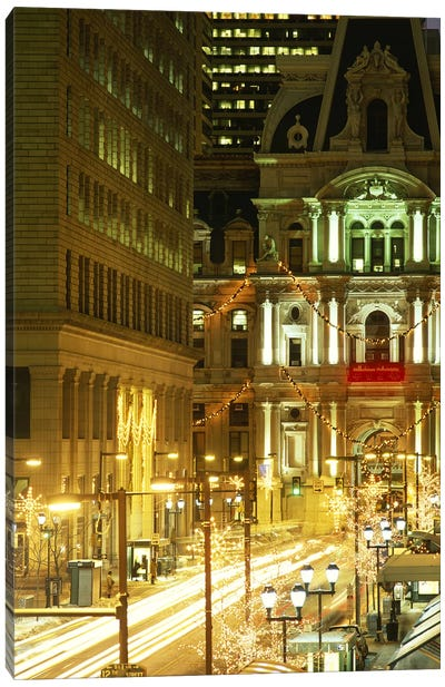 Building lit up at night City Hall, Philadelphia, Pennsylvania, USA Canvas Print #PIM3756