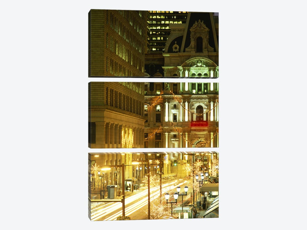 Building lit up at night City Hall, Philadelphia, Pennsylvania, USA by Panoramic Images 3-piece Canvas Wall Art