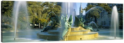 Fountain In Front Of A Building, Logan Circle, City Hall, Philadelphia, Pennsylvania, USA Canvas Print #PIM3757