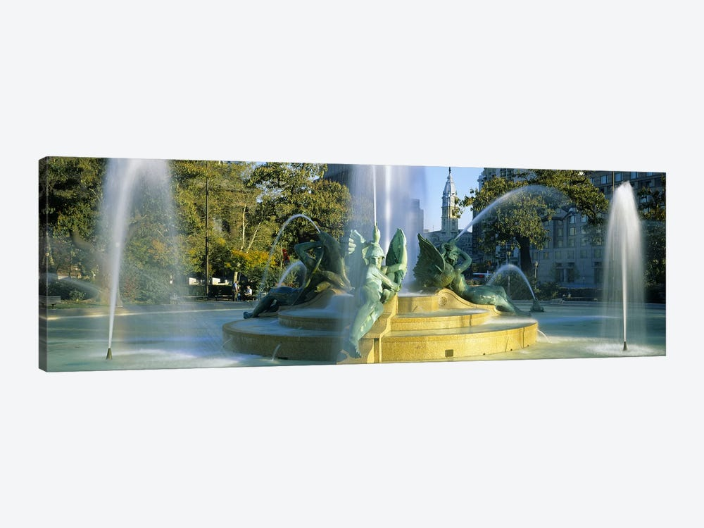 Fountain In Front Of A Building, Logan Circle, City Hall, Philadelphia, Pennsylvania, USA by Panoramic Images 1-piece Canvas Print