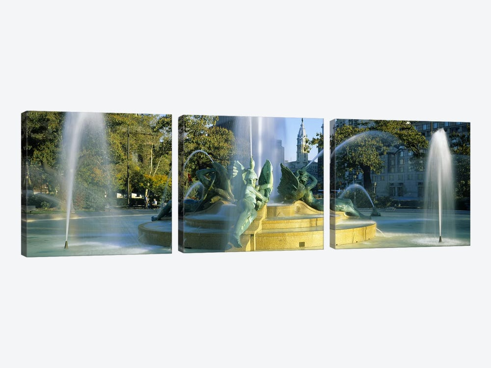 Fountain In Front Of A Building, Logan Circle, City Hall, Philadelphia, Pennsylvania, USA by Panoramic Images 3-piece Art Print