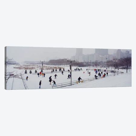 Group of people ice skating in a park, Bicentennial Park, Chicago, Cook County, Illinois, USA Canvas Print #PIM3758} by Panoramic Images Canvas Artwork