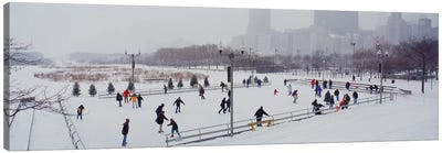 Group of people ice skating in a park, Bicentennial Park, Chicago, Cook County, Illinois, USA Canvas Art Print