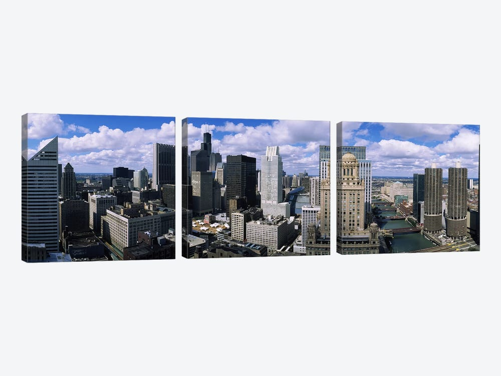 Aerial view of a riverChicago River, Chicago, Illinois, USA by Panoramic Images 3-piece Canvas Art Print