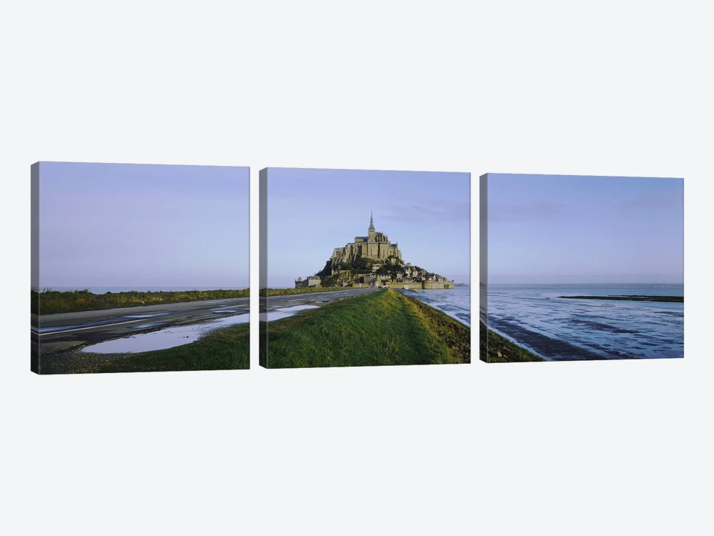 Church on the beachMont Saint-Michel, Normandy, France by Panoramic Images 3-piece Canvas Art Print