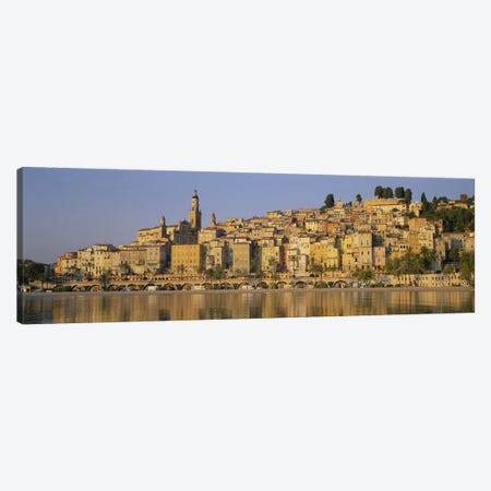 Buildings on The waterfront, Eglise St-Michel, Menton, France Canvas Print #PIM3771} by Panoramic Images Canvas Art