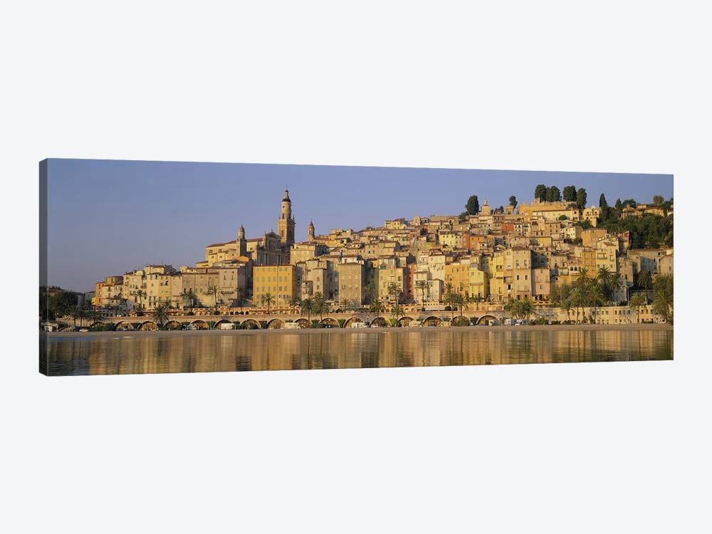 Buildings on The waterfront, Eglise St-Michel, Menton, France by Panoramic Images 1-piece Canvas Art Print