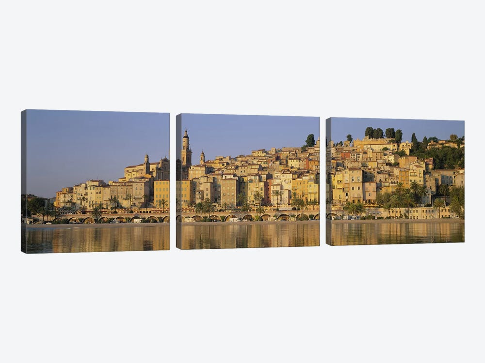 Buildings on The waterfront, Eglise St-Michel, Menton, France by Panoramic Images 3-piece Canvas Print