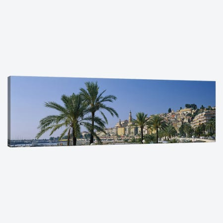 Building on The waterfront, Menton, France Canvas Print #PIM3772} by Panoramic Images Canvas Artwork