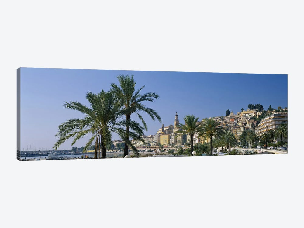Building on The waterfront, Menton, France by Panoramic Images 1-piece Canvas Wall Art