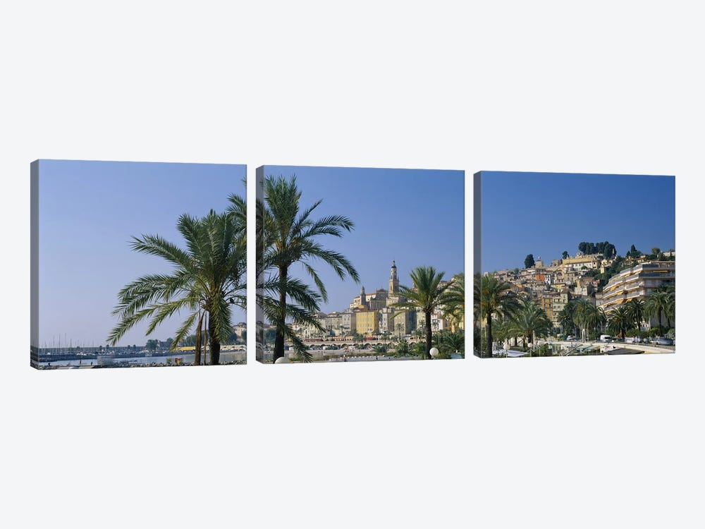 Building on The waterfront, Menton, France by Panoramic Images 3-piece Canvas Artwork