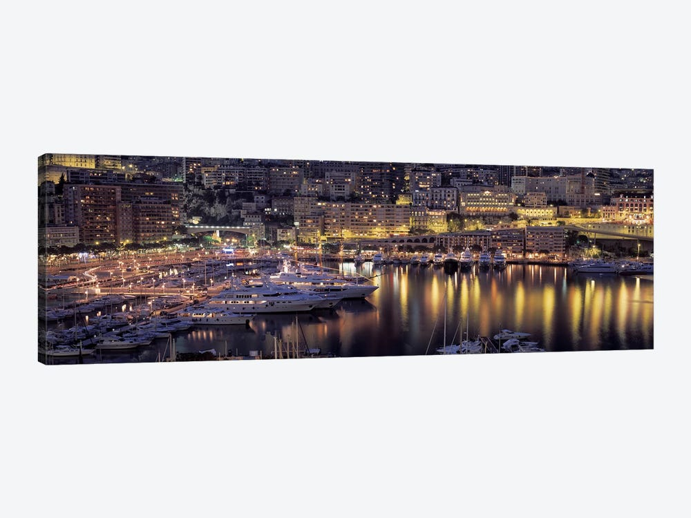 Port Hercules At Night, La Condamine District, Monaco by Panoramic Images 1-piece Canvas Wall Art