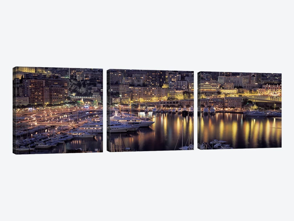 Port Hercules At Night, La Condamine District, Monaco by Panoramic Images 3-piece Canvas Wall Art