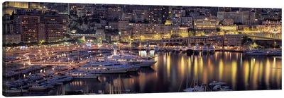 Port Hercules At Night, La Condamine District, Monaco Canvas Art Print