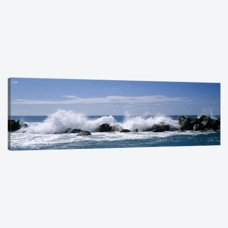 Crashing Waves, Chiavari, Liguria Region, Italy Canvas Print #PIM3777} by Panoramic Images Canvas Art Print