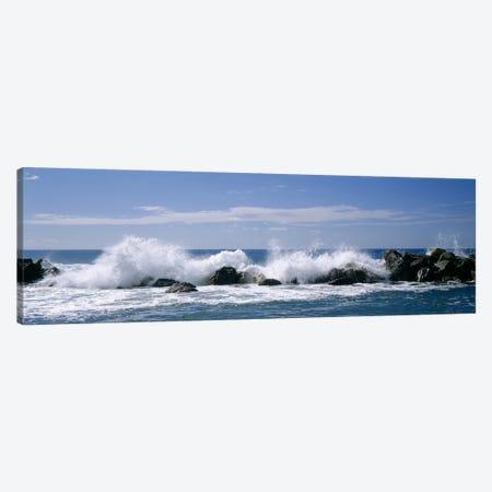 Crashing Waves, Chiavari, Liguria Region, Italy 3-Piece Canvas #PIM3777} by Panoramic Images Canvas Art Print