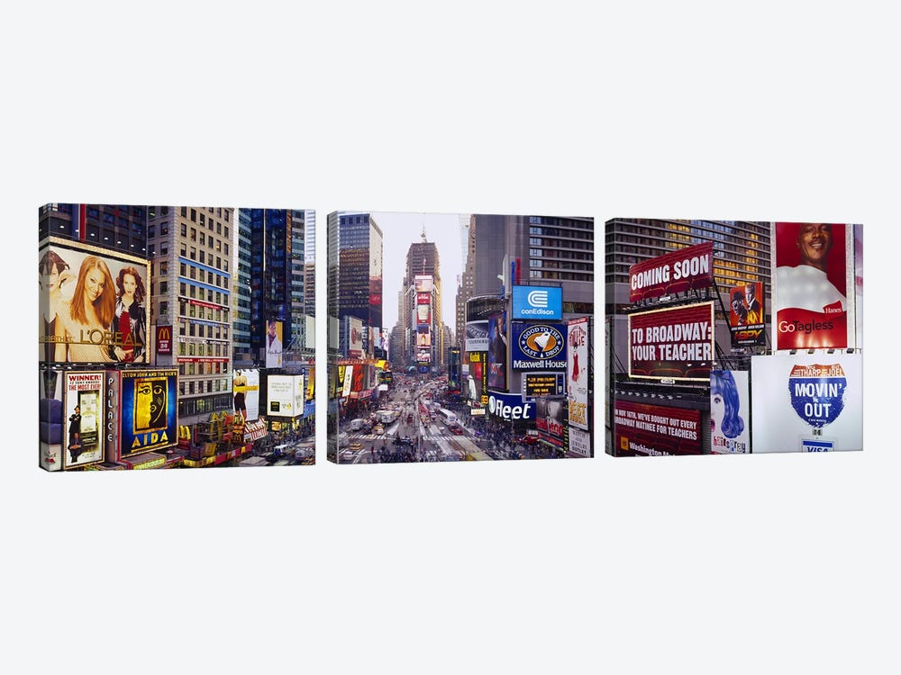 Times Square, Midtown Manhattan, New York City, New York, USA by Panoramic Images 3-piece Canvas Artwork