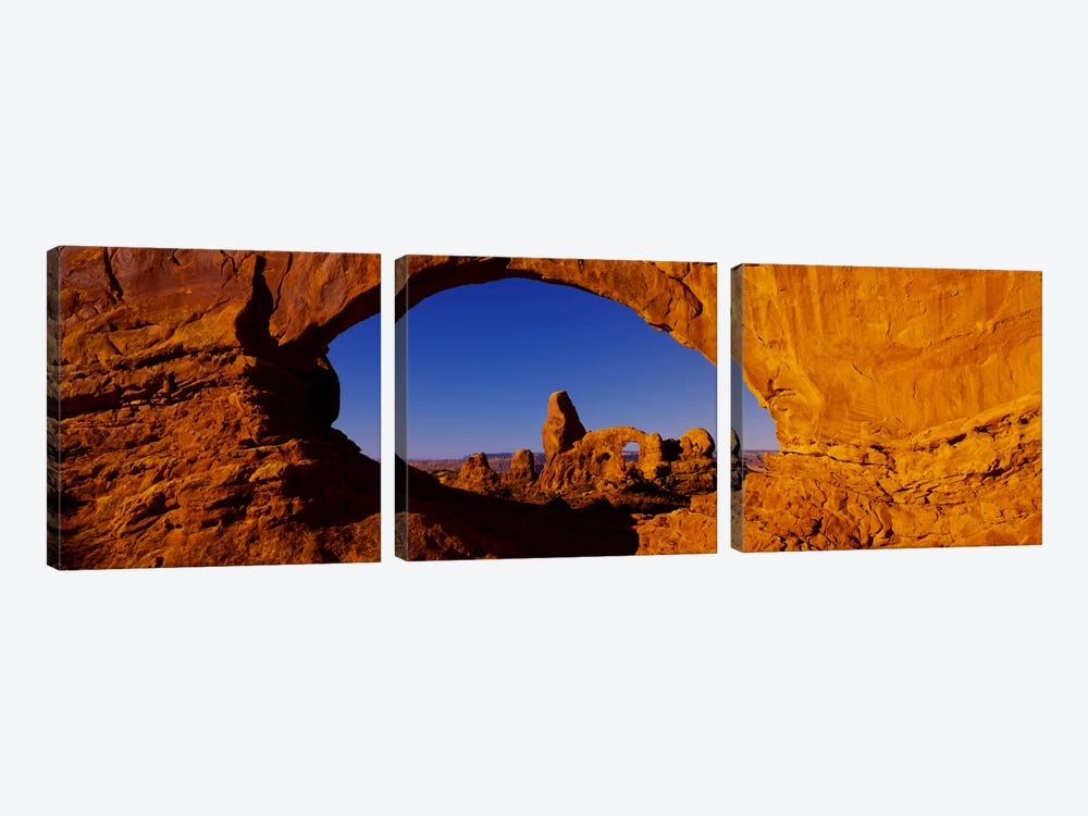 Natural arch on a landscape, Arches National Park, Utah, USA by Panoramic Images 3-piece Canvas Art
