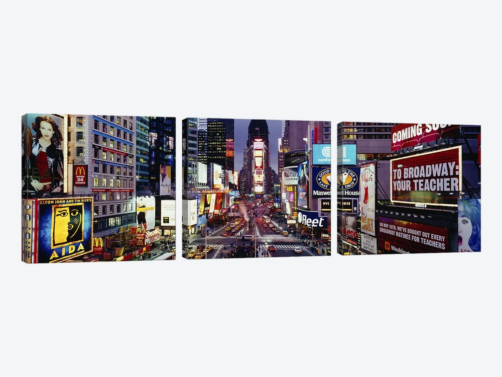 High angle view of traffic on a roadTimes Square, Manhattan, New York City, New York State, USA by Panoramic Images 3-piece Canvas Wall Art
