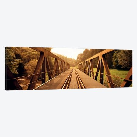 Railroad Tracks & Bridge Germany Canvas Print #PIM3791} by Panoramic Images Canvas Artwork