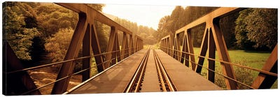 Railroad Tracks & Bridge Germany Canvas Art Print