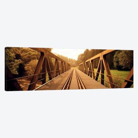 Railroad Tracks & Bridge Germany Canvas Print #PIM3791} by Panoramic Images Canvas Artwork