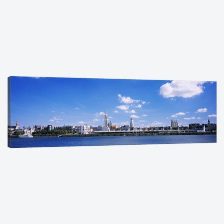 Waterfront Skyline, Antwerp, Flemish Region, Belgium 3-Piece Canvas #PIM3799} by Panoramic Images Canvas Art