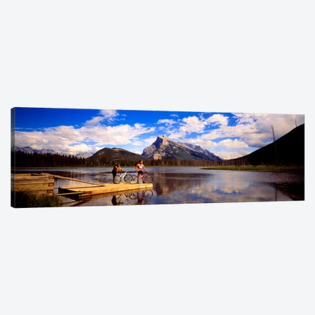 Mountain Bikers Vermilion Lakes Alberta Canada Canvas Print #PIM379} by Panoramic Images Canvas Art