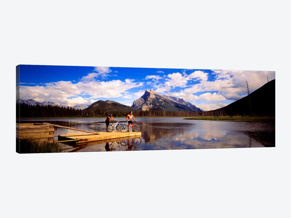 Mountain Bikers Vermilion Lakes Alberta Canada by Panoramic Images 1-piece Canvas Artwork