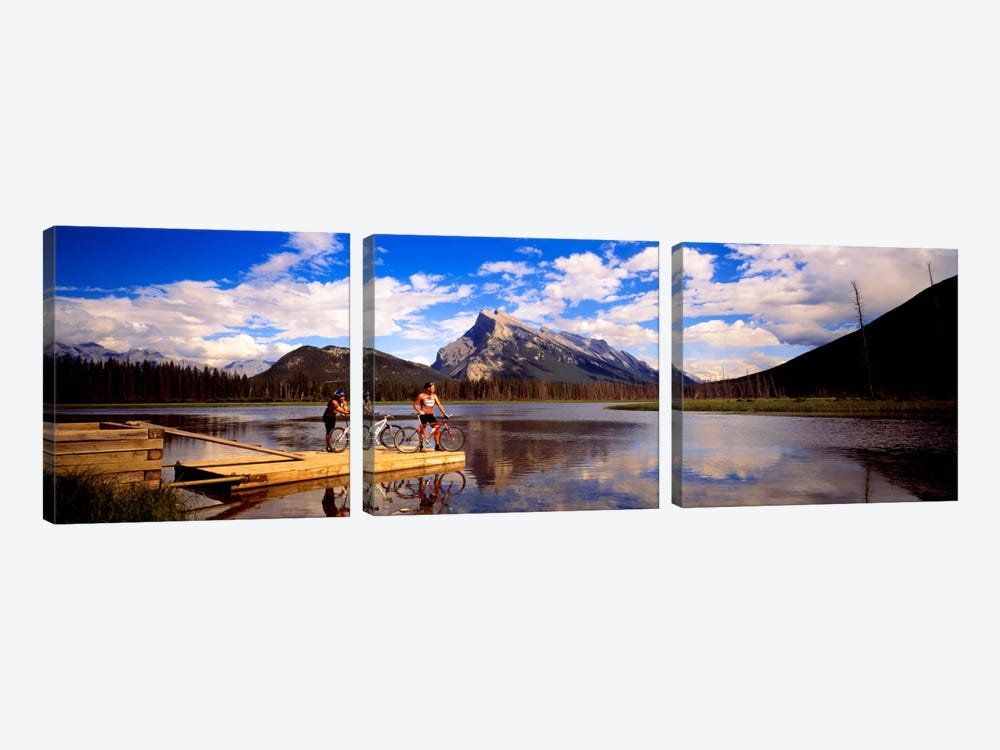 Mountain Bikers Vermilion Lakes Alberta Canada by Panoramic Images 3-piece Canvas Artwork