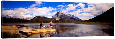 Mountain Bikers Vermilion Lakes Alberta Canada Canvas Art Print