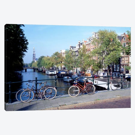 Bicycles, Amsterdam, North Holland Province, Netherlands Canvas Print #PIM37} by Panoramic Images Canvas Wall Art