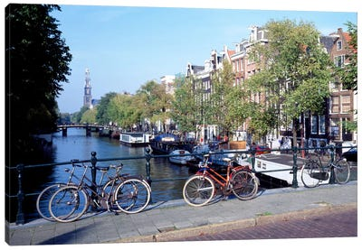 Bicycles, Amsterdam, North Holland Province, Netherlands Canvas Art Print