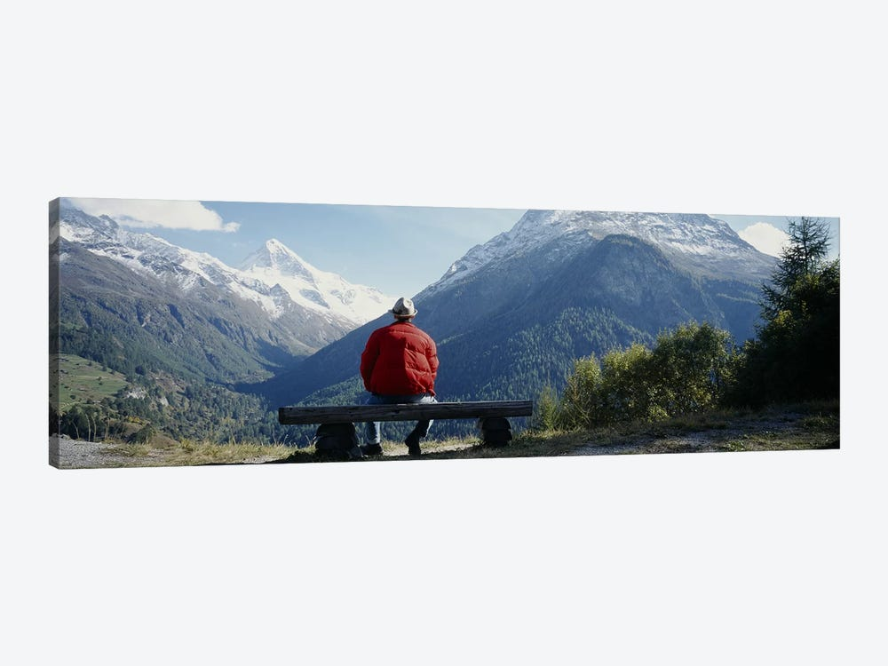 Hiker Contemplating Mountains Switzerland by Panoramic Images 1-piece Art Print