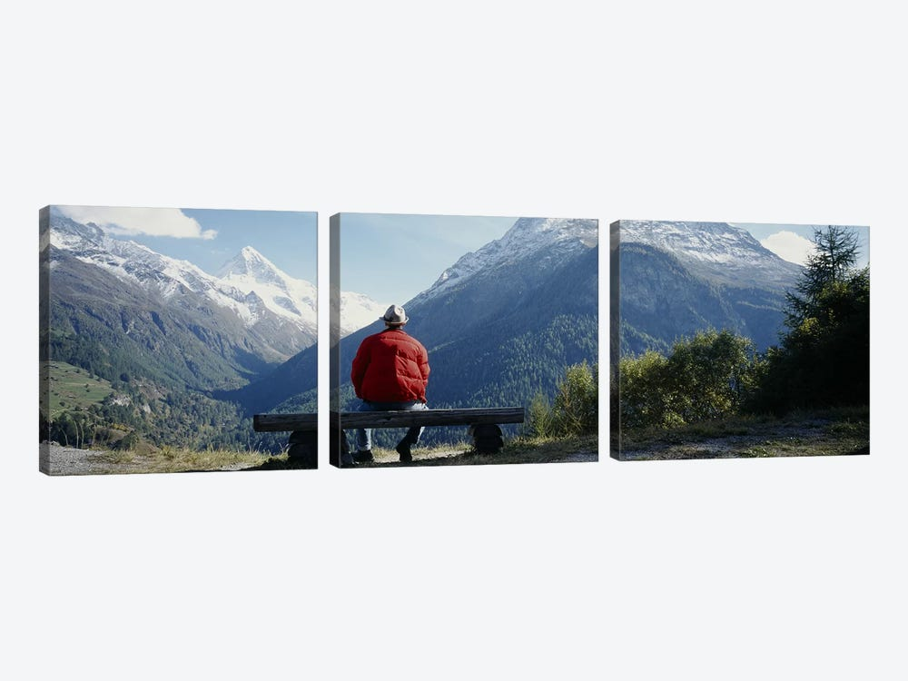 Hiker Contemplating Mountains Switzerland by Panoramic Images 3-piece Canvas Print