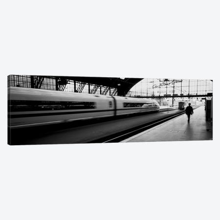 Bluured Motion View Of A Departing Train, Koln Hauptbahnhof, Innenstadt, Cologne, North Rhine-Westphalia, Germany Canvas Print #PIM3803} by Panoramic Images Canvas Art