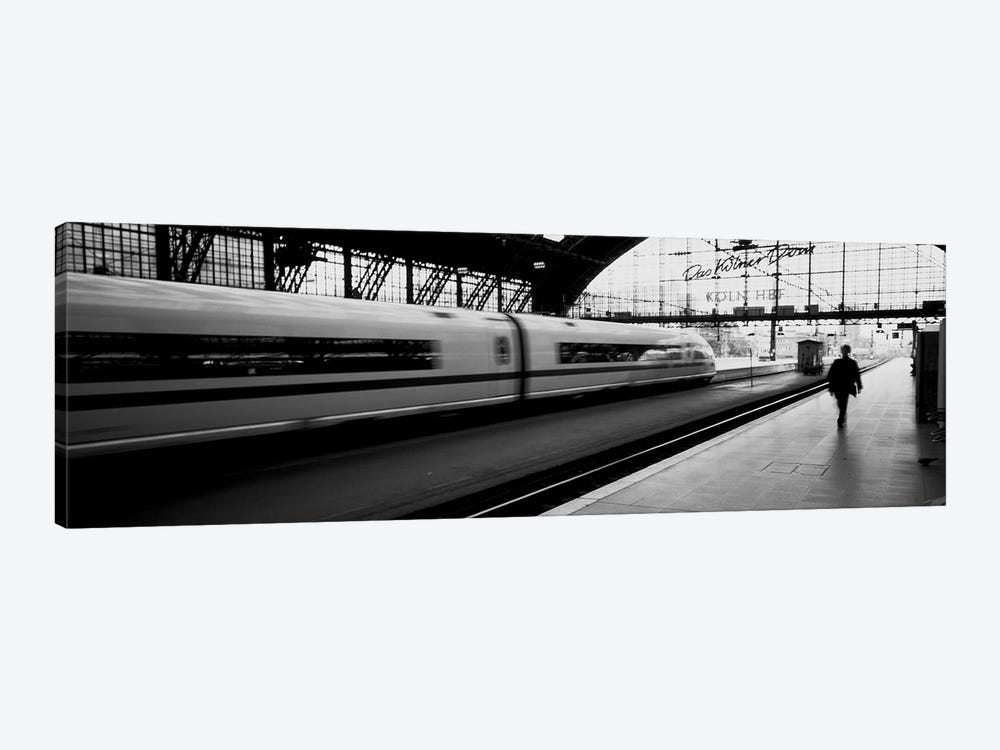 Bluured Motion View Of A Departing Train, Koln Hauptbahnhof, Innenstadt, Cologne, North Rhine-Westphalia, Germany by Panoramic Images 1-piece Canvas Artwork