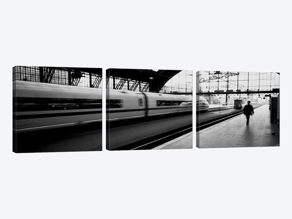 Bluured Motion View Of A Departing Train, Koln Hauptbahnhof, Innenstadt, Cologne, North Rhine-Westphalia, Germany by Panoramic Images 3-piece Canvas Art