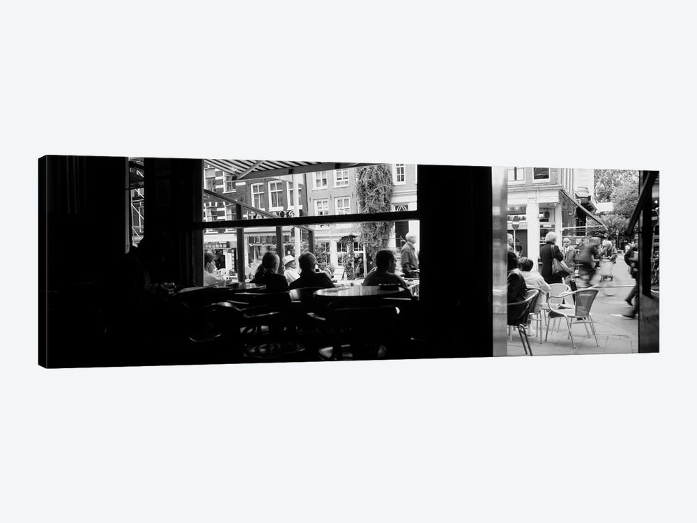 View From A Café In B&W, Amsterdam, North Holland, Netherlands by Panoramic Images 1-piece Canvas Art Print
