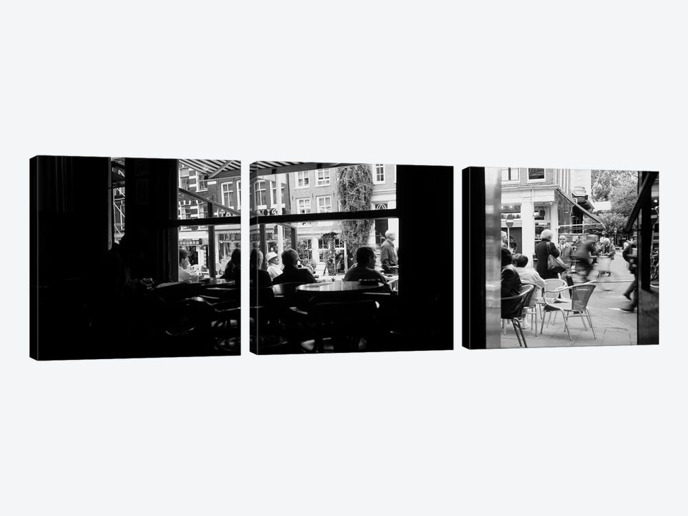 View From A Café In B&W, Amsterdam, North Holland, Netherlands by Panoramic Images 3-piece Canvas Art Print