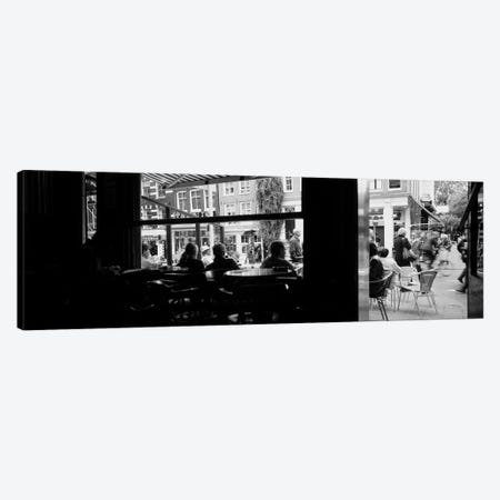 View From A Café In B&W, Amsterdam, North Holland, Netherlands Canvas Print #PIM3804} by Panoramic Images Art Print