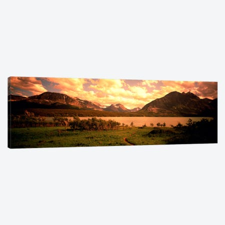 Golden Sunset At Saint Mary Lake, Glacier National Park, Montana, USA Canvas Print #PIM380} by Panoramic Images Art Print