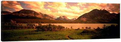 Golden Sunset At Saint Mary Lake, Glacier National Park, Montana, USA Canvas Art Print