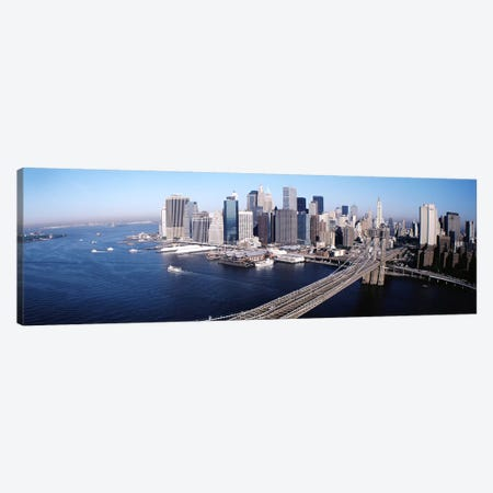 Aerial View Of Brooklyn Bridge, Lower Manhattan, NYC, New York City, New York State, USA Canvas Print #PIM3813} by Panoramic Images Canvas Print