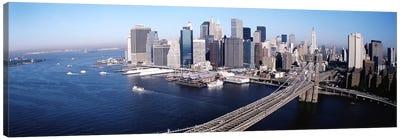 Aerial View Of Brooklyn Bridge, Lower Manhattan, NYC, New York City, New York State, USA Canvas Print #PIM3813