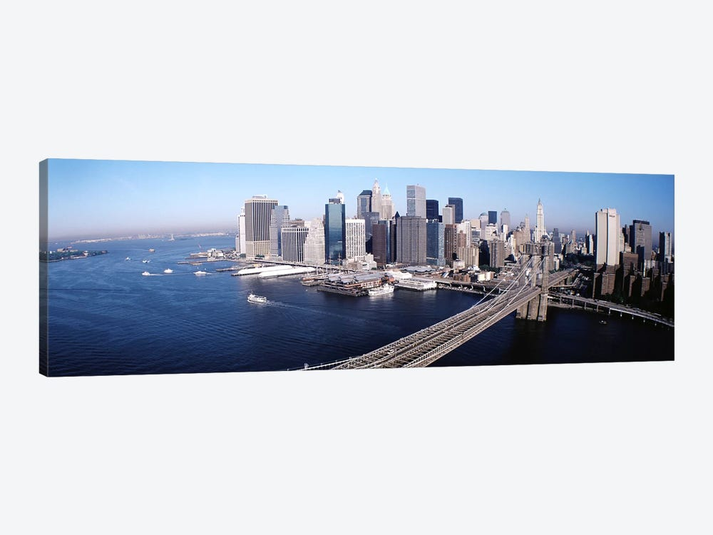 Aerial View Of Brooklyn Bridge, Lower Manhattan, NYC, New York City, New York State, USA by Panoramic Images 1-piece Canvas Print