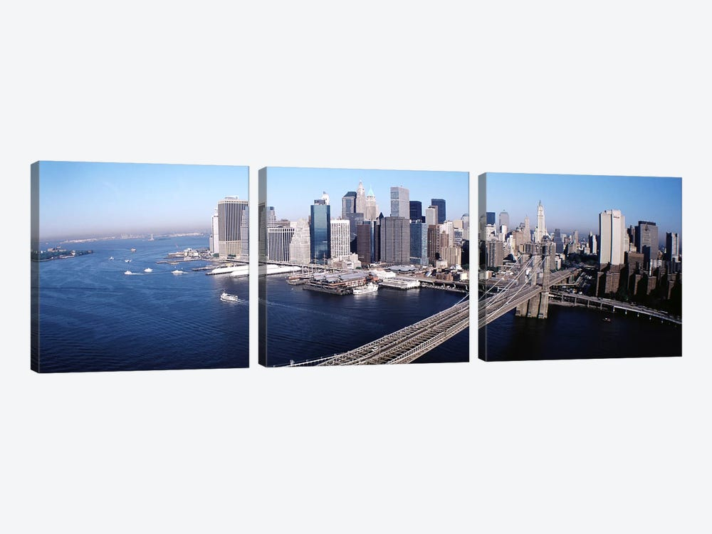 Aerial View Of Brooklyn Bridge, Lower Manhattan, NYC, New York City, New York State, USA by Panoramic Images 3-piece Canvas Print