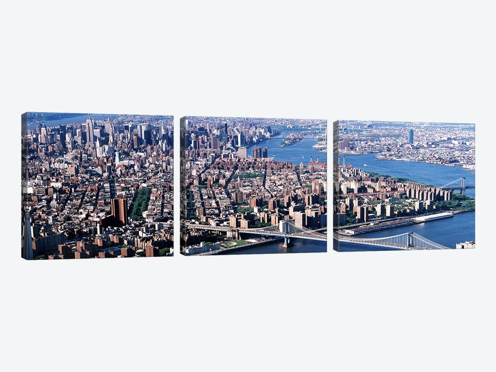 USA, New York, Brooklyn Bridge, aerial by Panoramic Images 3-piece Canvas Art