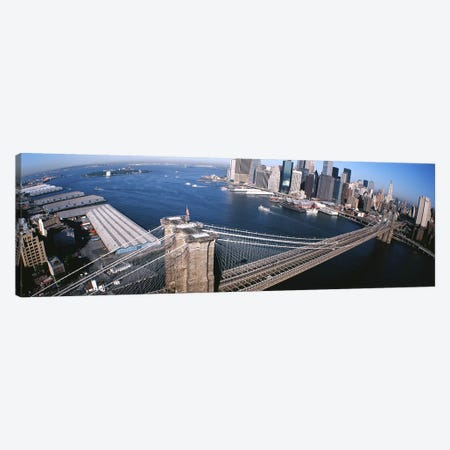 USA, New York, Brooklyn Bridge, aerial #2 Canvas Print #PIM3815} by Panoramic Images Canvas Art