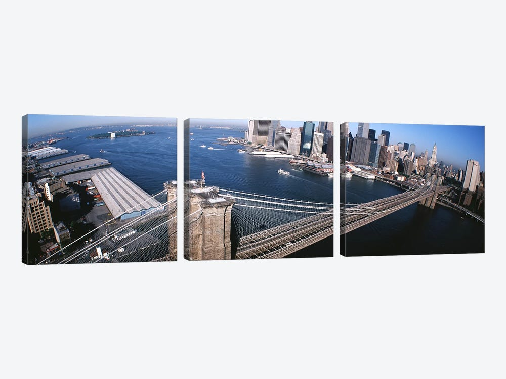 USA, New York, Brooklyn Bridge, aerial #2 by Panoramic Images 3-piece Canvas Art Print